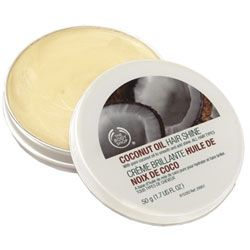 Love this coconut Oil hair shine from the body shop! $10.00 on Thebodyshop.com! Or you could always buy coconut oil from a drug store. Same thing lower price! =)