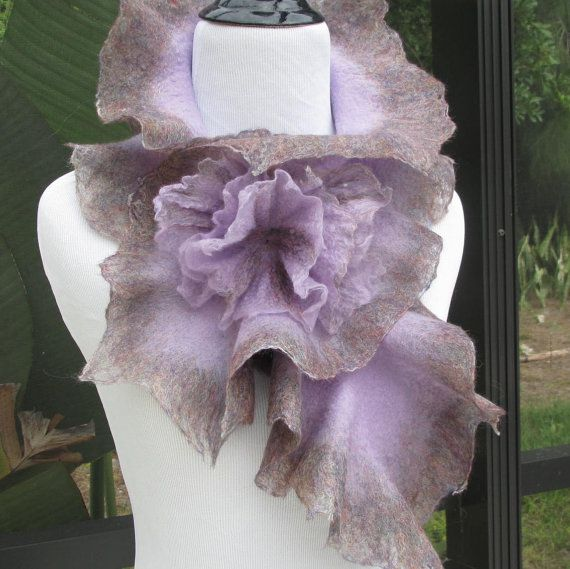 Felted Scarf in lavender and Heather with 3D Felted Flowers.