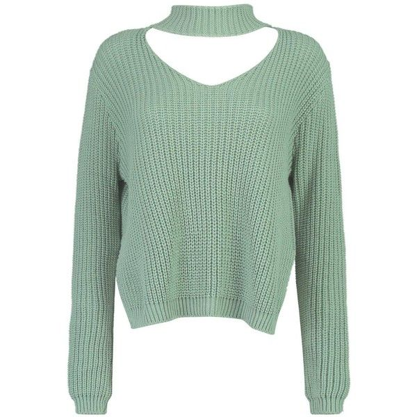Boohoo Ella Choker Strap V Neck Jumper ($30) ❤ liked on Polyvore featuring tops, sweaters, v-neck sweater, party jumpers, chunky knit sweater, wrap sweater and sequin tops