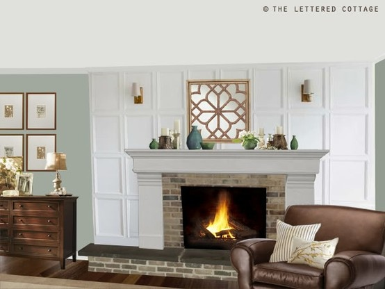 Great fireplace wall: Wall Colors, Living Rooms, Fireplaces Redo, Brick Fireplaces, Fireplaces Remodel, Fireplaces Wall, Fireplaces Ideas, Fireplaces Makeovers, Fire Places