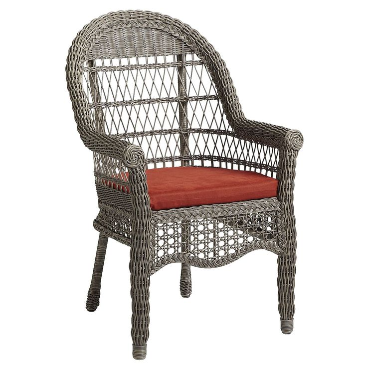 An airy, exceptionally comfy, traditional outdoor dining chair made of hand-woven synthetic rattan over a durable, rust-resistant metal frame. To clean, you literally just hose it off. Pretty delicious, huh? Cushion sold separately.<br>