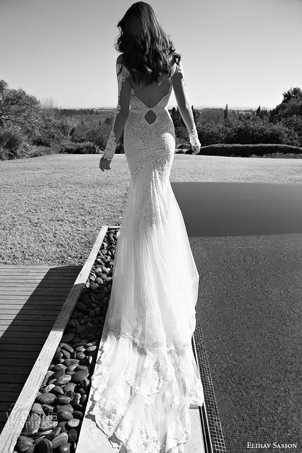 elihav sasson wedding dress 2015 long sleeves lace sleeves low cut back mermaid bridal gown with train