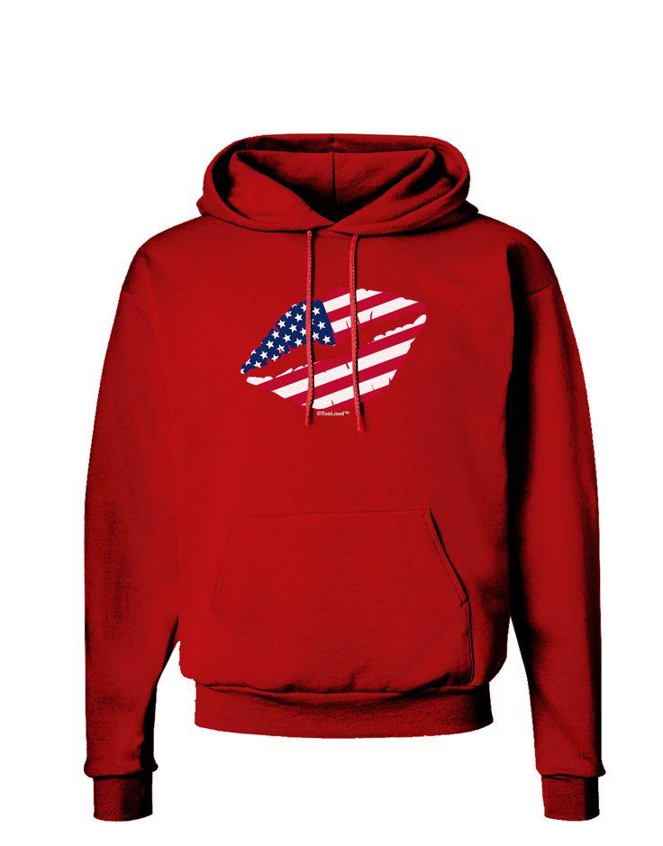 TooLoud American Flag Lipstick Dark Hoodie Sweatshirt