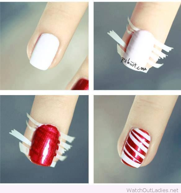 A simple red and white nail tutorial for Christmas