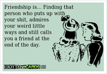 Friendship is... Finding that  person who puts up with  your shit, admires  your weird little  ways and still calls you a friend at the end of the day.