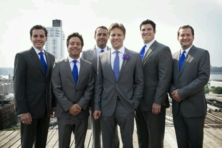 Charcoal grey suit with royal blue ties..maybe instead of blue