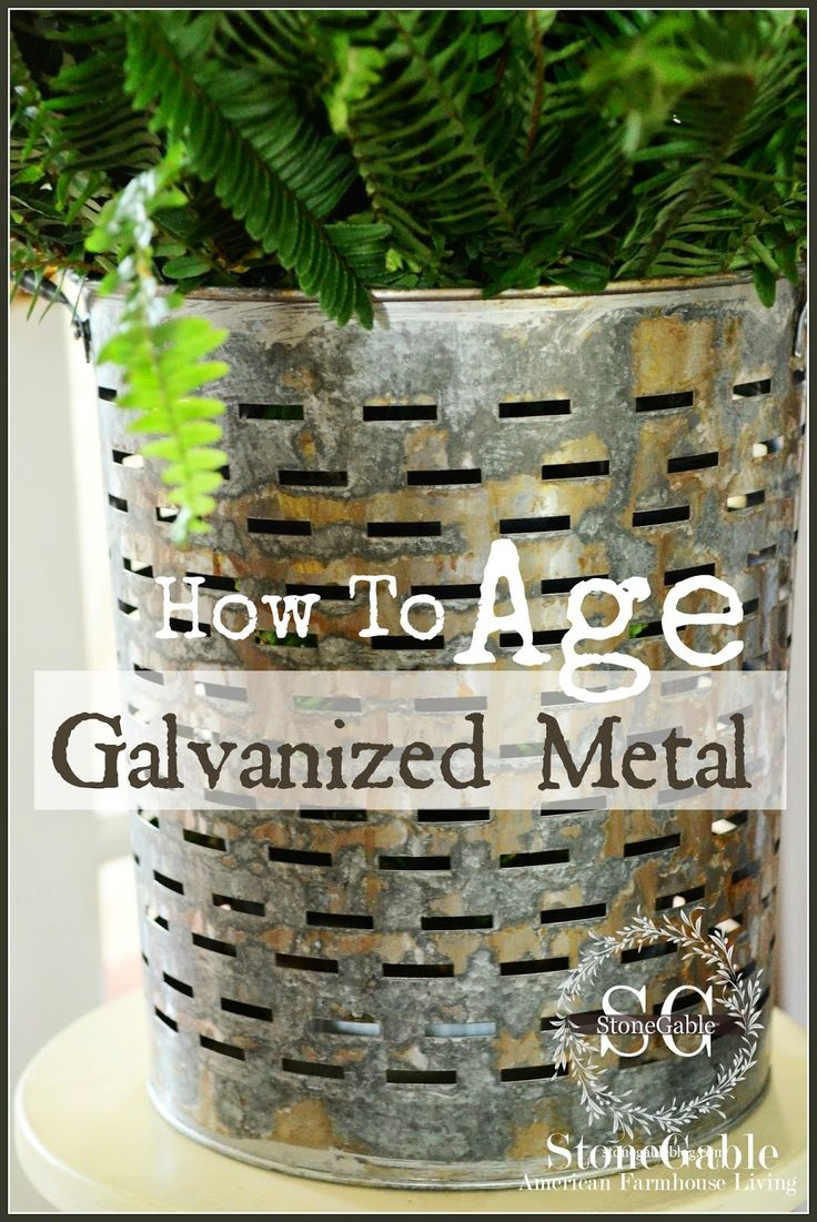 HOW TO AGE GALVANIZED METAL for a rustic vintage look. (hint: it involves toilet bowl cleaner).
