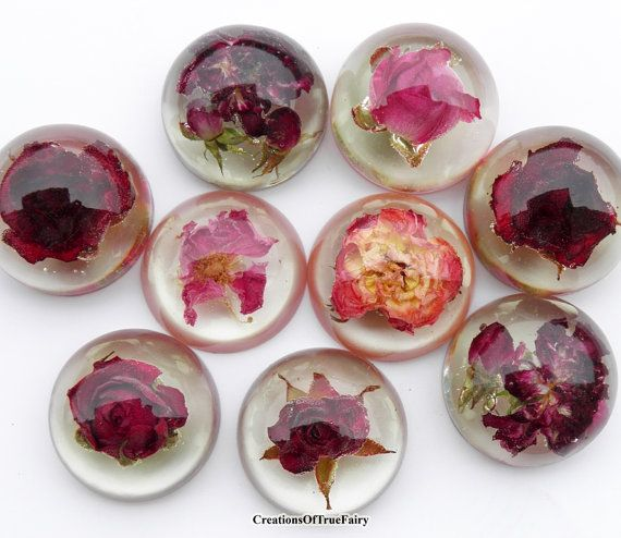 Red rose cabochons Real dried flower by CreationsOfTrueFairy