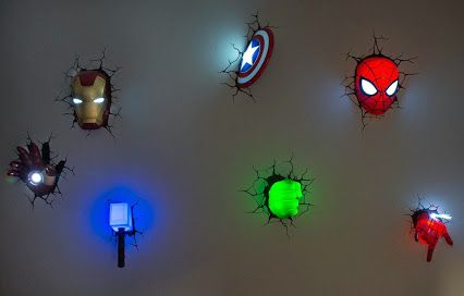 Why stick to generic night lights when you can install one of these awesome wall lights from #Marvel ? They're sure to light the way for your little superhero or heroine.