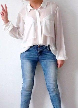 Kup mój przedmiot na #vintedpl http://www.vinted.pl/damska-odziez/koszule/10893570-gina-tricot-36-s-mgielka-zwiewna-biala-koszula-asymetryczna-kieszenie-dluga-minimalistyczna-minimal
