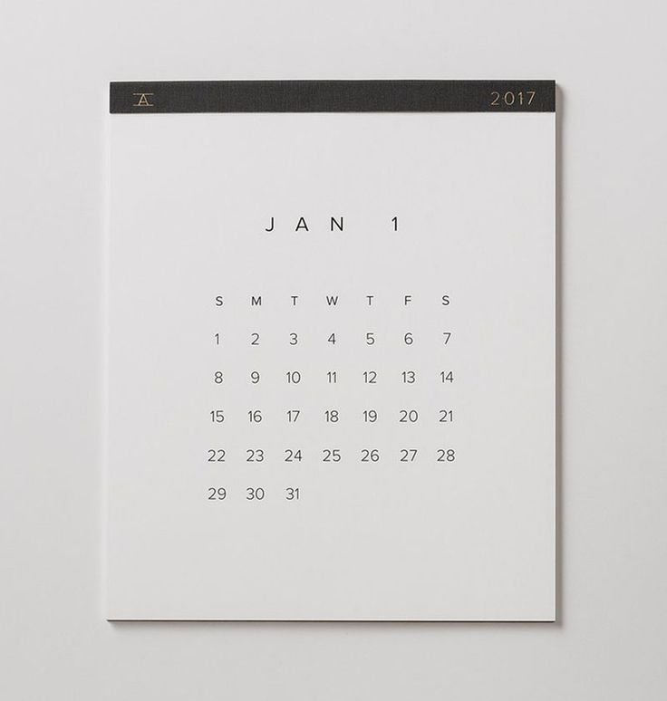 13 Modern Wall Calendars To Get You Organized For 2017 | Perfect for minimalists, this calendar has the bare minimum when it comes to details so you won't feel overwhelmed by lines or designs.