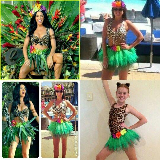 Fancy dress jungle madagascar katy perry costume tutu leopard flower
