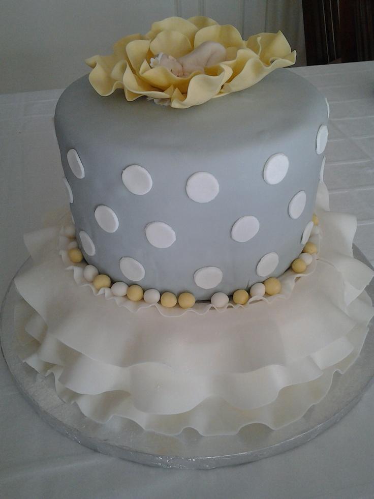 Grey and yellow baby shower cake | My Portfolio | Baby ...