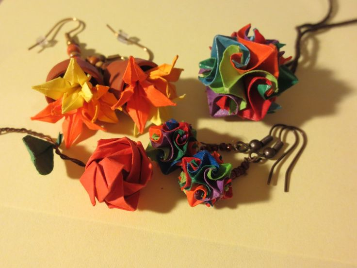 "miniature origami jewellery: rose, iris in pot earings, ""cuboctahedron"" medallion & earings"
