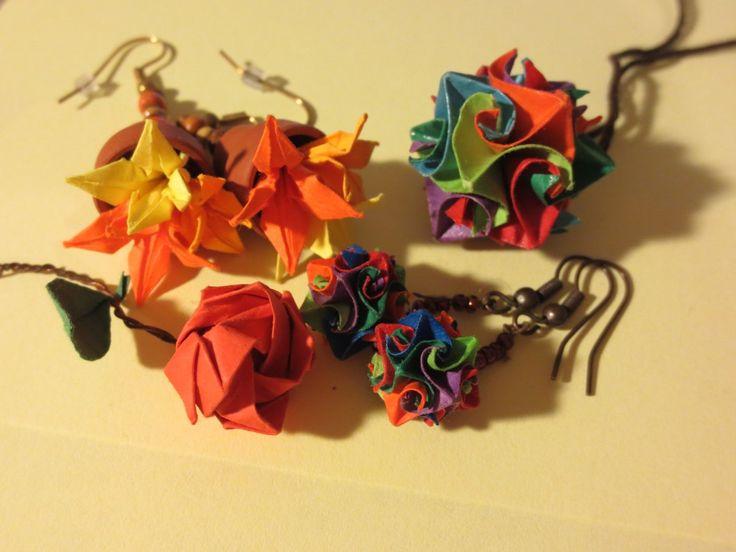 "miniature origami jewellery: rose, iris in pot earings, ""cuboctahedron"" medallion & earings"