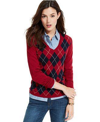 Tommy Hilfiger V-Neck Argyle Sweater - Sweaters - Women - Macy's