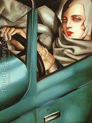 Self-Portrait in the Green Bugatti  by Tamara de Lempicka (inspired by)