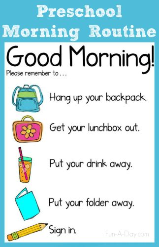 Morning Routine Chart for the Preschool Classroom