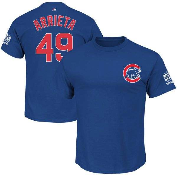 Jake Arrieta Chicago Cubs Majestic 2016 World Series Champions Name & Number T-Shirt - Royal - $31.99