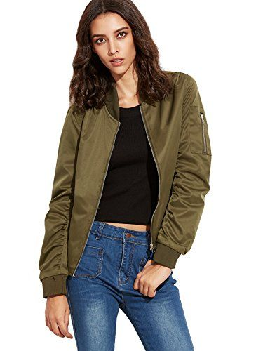 SweatyRocks Jacket Women Bomber Jacket Short Coat Outwear, Army Green, Large