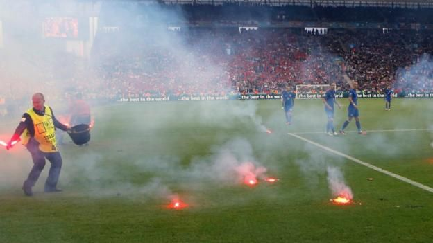 "Croatia Fans Throw Flares during Euro 2016 draw with the Czech Republic called ""sports terrorists"""