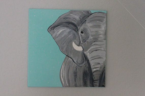 12 x 12 elephant canvas painting by AshleyBridgerDesigns on Etsy, $50.00