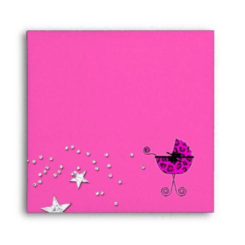 Leopard Pink Pram Stars Baby Shower Envelope