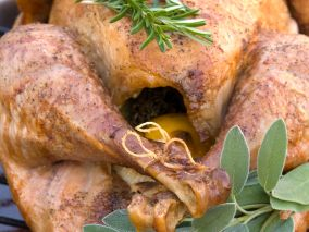 The Food Network star and celebrity chef gets down with some turkey tips ahead of Thanksgiving and challenges host Melissa Block to change her ways. Brown claims stuffing is evil and that there's no good reason to baste a turkey.