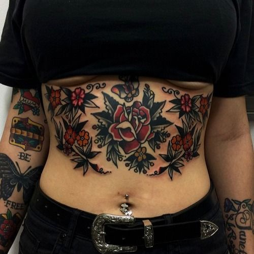 GIRLS WITH STOMACH TATTOOS