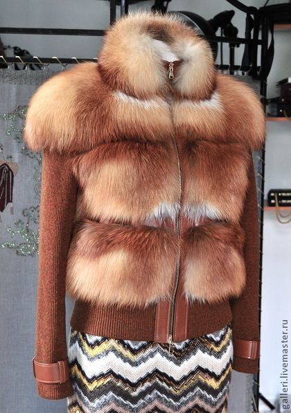 Курточка из меха лисы - рыжий,однотонный,куртка женская,куртка меховая