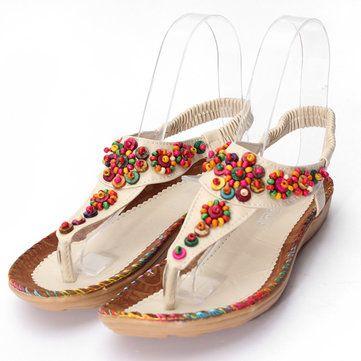 Trendy Womens Bohemia Agate Diamond Beads Sandals Flowers Shape Splice Shoes Fla - US$17.12