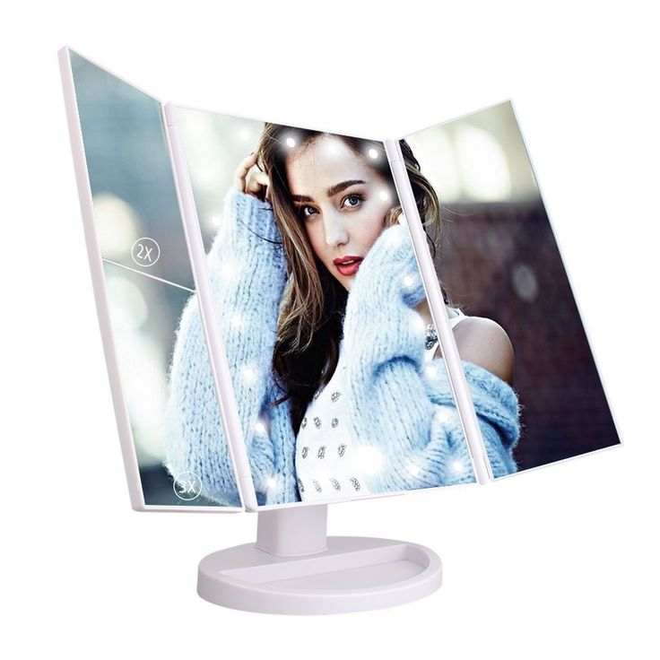 1X/2X/3X Magnifying Travel Vanity Mirror,Light Makeup Mirror,Illuminated Shaving Mirror,Tabletop adjustable Lighted Cosmetic Mirrors Tri-Fold Lighted 22 Led Mirror With Three Way Led Touch Screen Table Desk Mirror for Flossing Make-up: Amazon.co.uk: Kitchen & Home