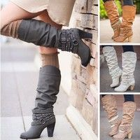 Wish | 2017 Autumn and Winter Women Fashion Solid Color Knee High Boots Tall Strappy Boot Diamonds&studs Boots