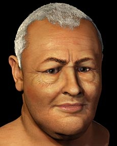 """JS Bach's face (2008). """"Janice Aitken and Dr. Caroline Wilkinson of the Centre for Forensic and Medical Art at Scotland's Dundee University recreated the face of Bach using a bronze cast of his skull and historical documents describing features such as swollen eyelids from an eye condition"""""""