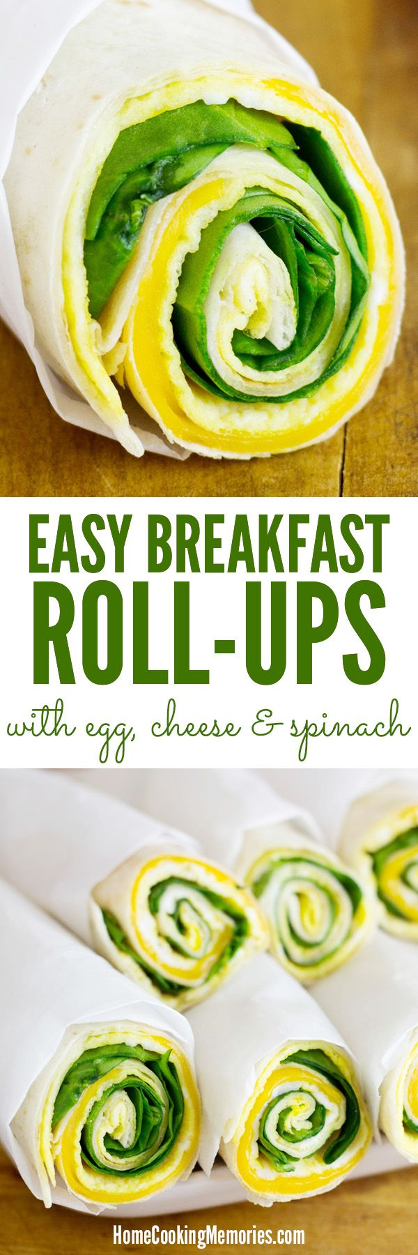 Quick, on-the-go breakfast idea for busy mornings! Inspired by breakfast burritos, but the egg in these Easy Breakfast Roll-Ups is cooked flat like an omelet, instead of scrambled. It's topped with cheese, fresh baby spinach and rolled up in a tortilla.