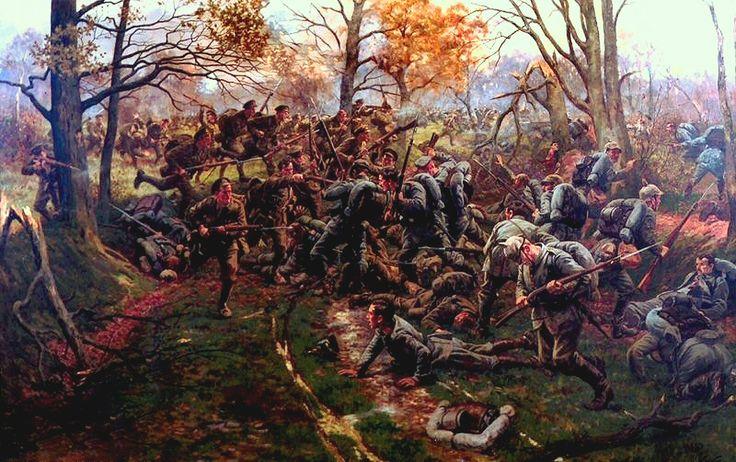 Derrota de la Guardia Prusiana en Ypres, 1914, por el segundo batallón de Ox y los Bucks (52º). Artista William Barnes Wollen. Representa a los Ox y los Bucks durante el combate a corta distancia entre el área del bosque alrededor de Ypres, 1914. Más en www.elgrancapitan.org/foro