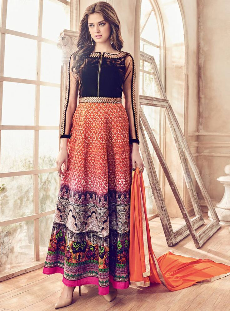 Orange Bhagalpuri Silk Ankle Length Anarkali Suit 84790