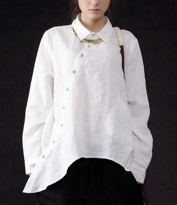 Irregular Hem Long Sleeve Linen Shirt by zeniche on Etsy, $65.00  in black for crispina