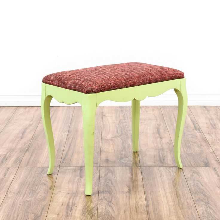This cottage chic bench is featured in a solid wood with a light mint green chalk paint finish. This stool has curved legs, carved trim and a durable woven pink fuchsia tweed upholstered seat cushion. Eclectic bench perfect for a vanity! #cottagechic #chairs #stool #sandiegovintage #vintagefurniture