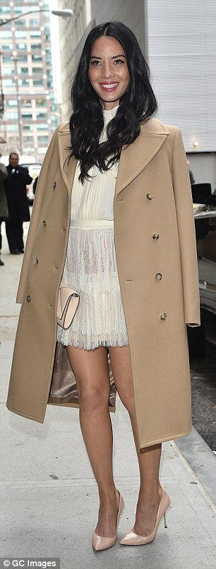 Beautiful in beige: Olivia Munn was stunning as she arrived to the show in a smooth beige ...