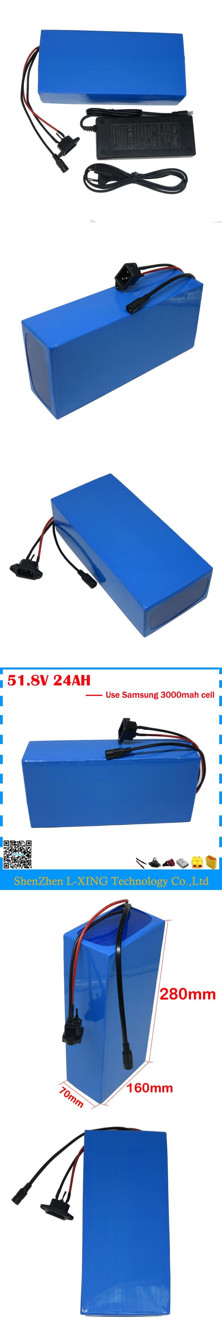 Free customs duty 51.8V 24AH Electric bicycle battery 52V 24AH scooter battery 52V lithium battery use Samsung 3000mah cell