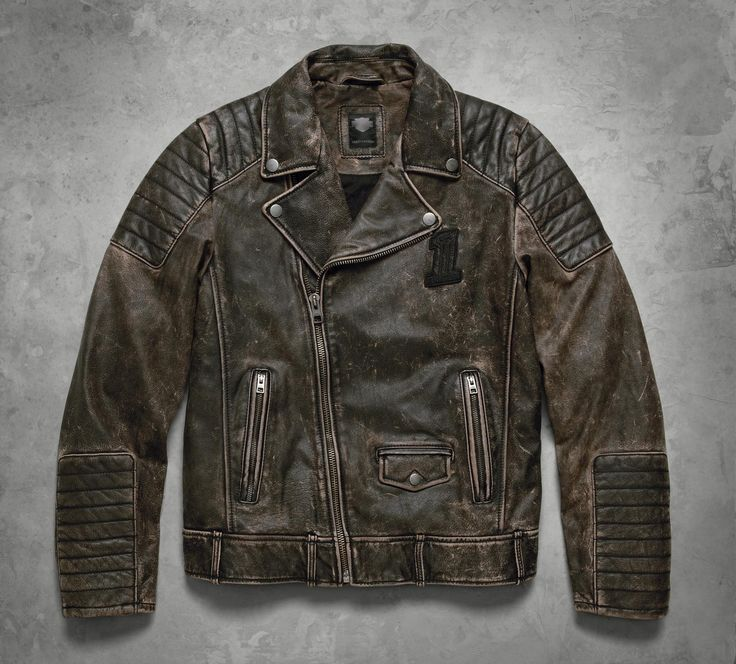 Slip into this updated classic and feel your confidence soar.   Harley-Davidson Men's Distressed Leather Biker Jacket