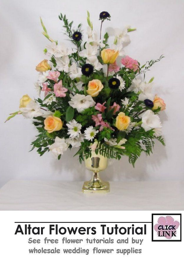 Altar Flower Tutorial - Step by Step Photos for creating this (substitute your own colors or flower varieties) beautiful floral spray.  Detailed photos.  Buy fresh flower supplies, including containers, foam, florist tools and more.