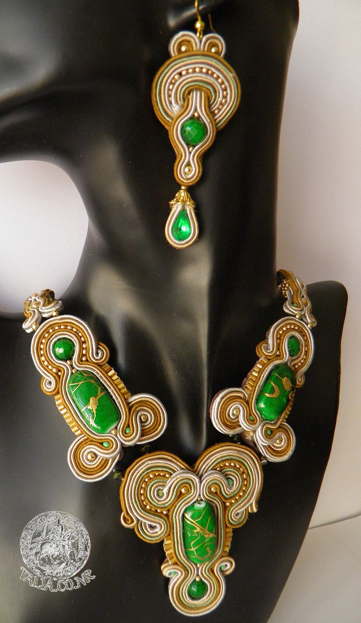 Soutache set of necklace with earrings in Green