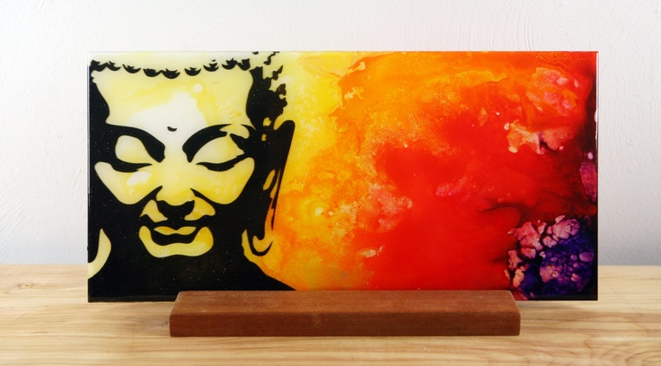 Spiritual Unique Fluid Abstract Painting. Free Shiping.Red and Yellow. Fine Art on Plexiglass Title Smiling Buddah By Igor Turovskiy. $150.00, via Etsy.