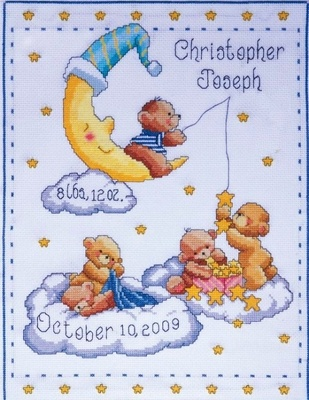Cross Stitch Kit Heavenly Bears Baby Sampler From Design Works