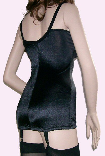 BLACK OPEN BOTTOM CORSELETTE WITH SUSPENDERS by SILHOUETTE