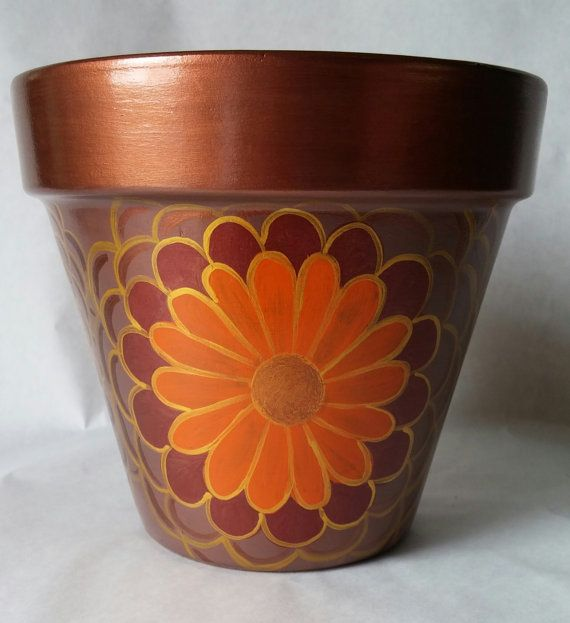 Hand painted flower pot, painted clay pot, flower pot, hand painted pot, hand painted design, painted flower pot, garden decor, patio decor