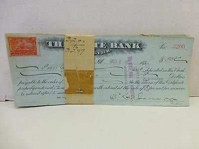 100 Canceled Checks c 1890 Woodstock Illinois IL State Bank w/ Stamps Affixed