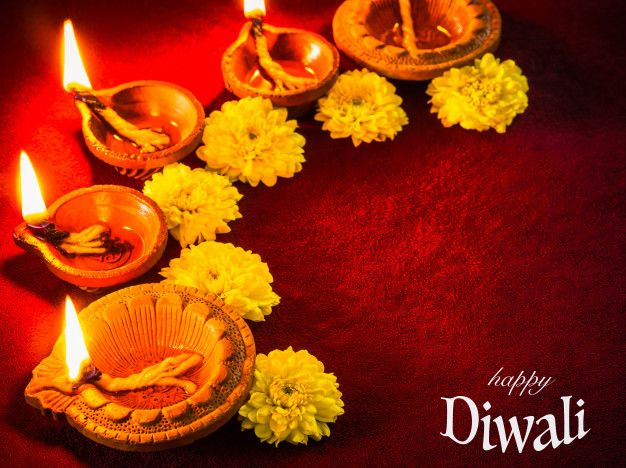 Traditional Clay Diya Lamps Lit With Flowers For Diwali Festival Celebration Diya Lamp Diwali Diwali Festival